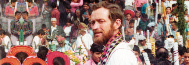 Father Stanley Rother during Carnival in Guatemala before his murder.