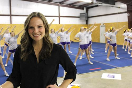 "Annie McFadden, cheerleading coach at Mount St. Mary Academy. ""It's not just using pom-poms and cheering on your team. Now cheerleaders are expected to tumble, stunt, jump, dance and cheer."""