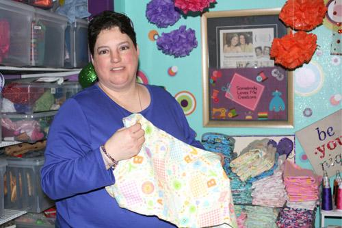 Melissa Ziegenhorn once sewed more than a 1,000 receiving blankets in a six-month span.(Aprille Hanson)