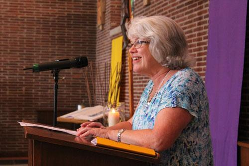Cackie Upchurch, LRSS director, welcomes 125 attendees to day two of the 2015 Bible Institute. The 25th annual event was held June 19 -21 at St. John Center in Little Rock. (Dwain Hebda photo)
