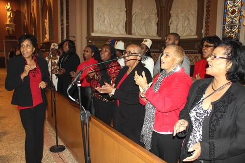 The choir from St. Peter Church in Pine Bluff provided lively, uplifting music Jan. 9 at the Cathedral of St. Andrew in Little Rock. (Dwain Hebda photo)