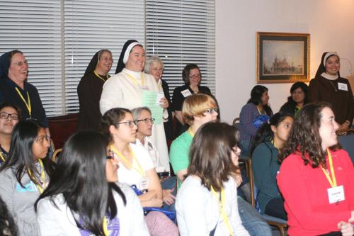 Sister Joan Pytlik, DC, diocesan minister for religious, introduced all the sisters present on Friday. Sister Joan said it was the largest retreat since it began about four years ago, with 33 women. (Aprille Hanson photo)