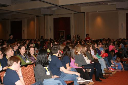 Keynote speaker Monica Kelsey encouraged participation from the crowd of about 550 teenagers. (Aprille Hanson photo)
