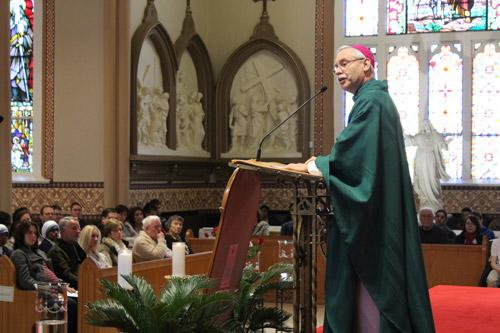 Drawing parallels between the pro-life struggle and the marriage at Cana, Bishop Anthony B. Taylor delivers his homily before a packed Cathedral of St. Andrew Jan 17. (Dwain Hebda photo)