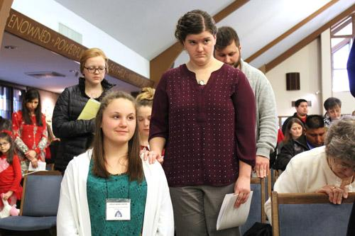 An estimated crowd of 800 people, the majority of them candidates, catechumens and sponsors of all ages and backgrounds, were on hand for the Rite of Election service. (Dwain Hebda photo)