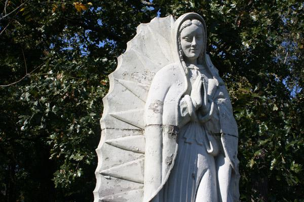 Our Lady of Guadalupe came from Mexico in 1978 and to St. John Center in 1996. The statue, made of concrete, had several cracks and chips, making it Michele Bowman's toughest statue restoration at St. John Center.