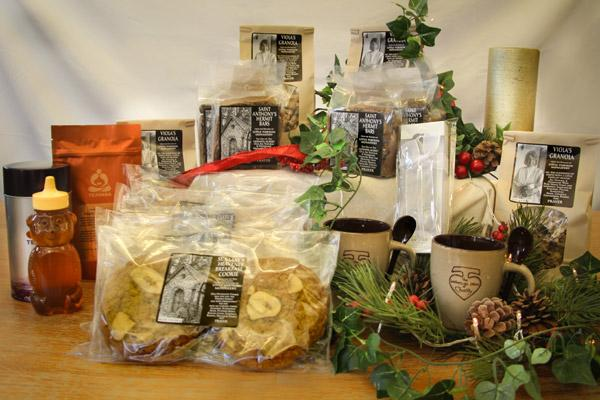 The large Little Portion Bakery Christmas gift box has a variety of treats including hermit bars, cookies, tea and all-natural honey. (Courtesy Little Portion Bakery)