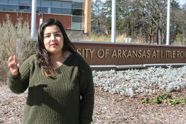 Daniah Al-Nadawi, 21, a senior at the University of Arkansas at Little Rock, recently participated in protests against the immigration ban and shared the story of her and her Iraqi family seeking refuge in the U.S. in 2009. (Aprille Hanson photo)