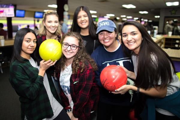 Building friendships rooted in the Catholic faith is a highlight of campus ministry. Pictured are: Carolina Fernandez, Camila Peres, Christa Murad (in glasses), Fernanda Suarez, Alli Barrera and Tori Loredo. (Travis McAfee photo)