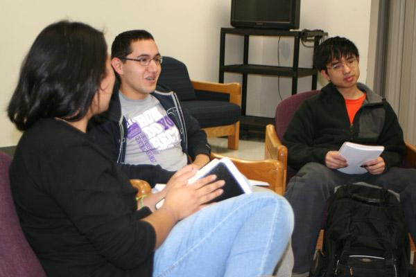 Jordan Rivera, 20, a junior at UCA, shares during a student-led Bible study what Lent means to him. Also pictured are sophomore Karen Valentino (left) and senior Joseph Pham.