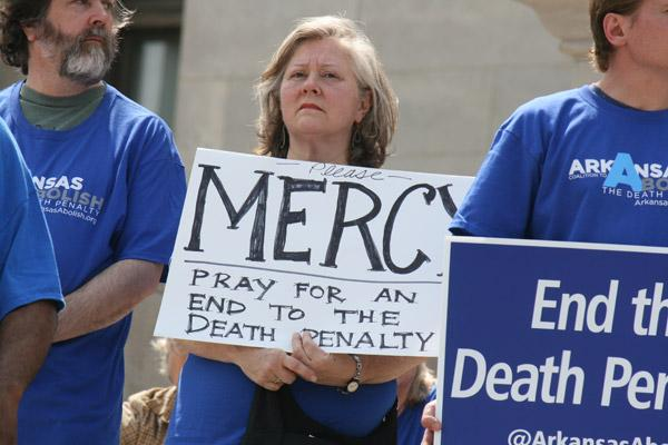 Execution protesters at the state capitol April 14 asked Gov. Asa Hutchinson to show mercy for those on death row, especially those scheduled to be executed in April. (Malea Hargett photo)