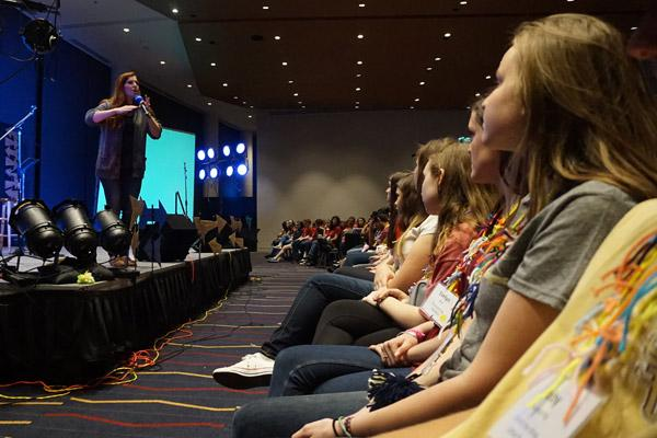"Jackie Francois Angel talked to teens about how she went from being ""50 percent"" Catholic to giving her life to God. (Aprille Hanson)"