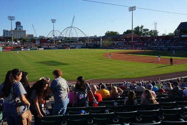 Catholic Youth Convention teens find their seats at the Arkansas Travelers game. The team beat the Springfield Cardinals 9-1. (Aprille Hanson)