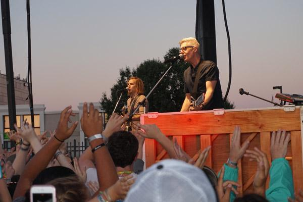"Popular Catholic singer Matt Maher treated the teens and others who attended the ""Family and Faith"" night at the Travelers game to a free concert. (Aprille Hanson)"