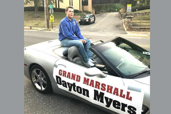 Dayton Myers, who led the squires to put on the breakfast and interfaith prayer service with help from the Knights of Columbus, was honored as grand marshal during an evening parade of first responders on Sept. 11. (David Myers photo; not for sale)