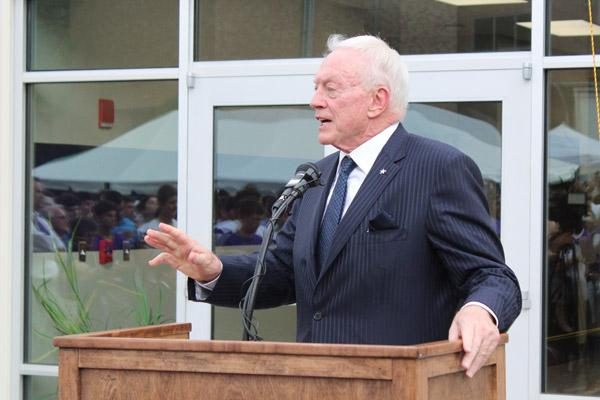 Jerry Jones, owner of the Dallas Cowboys and Arkansas native, delivers remarks during dedication ceremonies of the Gene and Jerry Jones Family Academic and Athletic Annex Aug. 30. (Dwain Hebda photo)