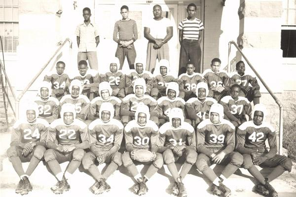 The Bluejackets football team from St. Peter School in Pine Bluff is pictured in a 1947 photo. (Diocese of Little Rock archives)