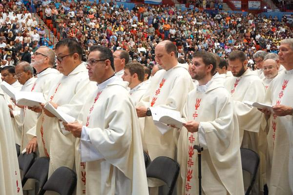 About 12 priests from the Diocese of Little Rock, including vicar general and vocations director Msgr. Scott Friend, concelebrated Mass. (Malea Hargett photo)