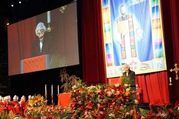 Sister Marita Rother, sister of Blessed Stanley Rother, reads the first reading during the beatification Mass Sept. 24 at the Cox Convention Center. (Malea Hargett photo)