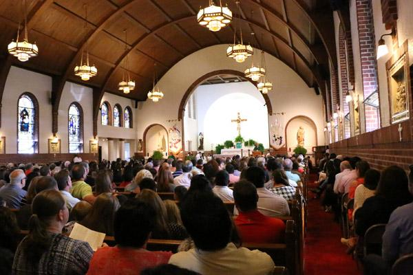 Blessed Sacrament Church hosted a decommissioning Mass Oct. 1 for its church building at 614 S. Church Street. Parishioners packed the church for the final Mass. (Sarah Morris photo)
