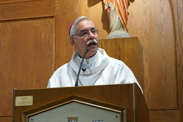 Bishop Taylor shares his homily with congregants at Our Lady of Fatima Church in Benton, emphasizing the Blessed Mother's calls for conversion of heart, repentance and prayer. (Aprille Hanson)