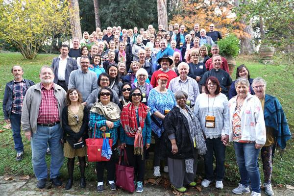 A wine tasting at Casal Pilozzo in the Frascati region Nov. 4 ends with a group photo of the 74 pilgrims, three leaders and the tour managers and bus drivers who spent 10 days with the Arkansas pilgrims. (Malea Hargett photo)