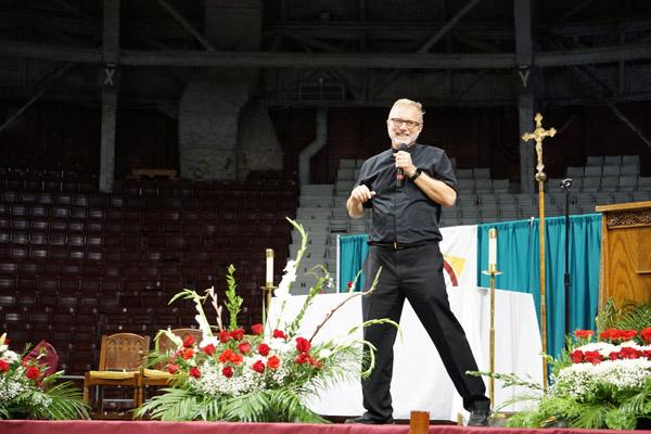 Msgr. Scott Friend, the diocese's vicar general and vocations director, was one of the presenters before the Encuentro Mass Nov. 18 at Barton Coliseum in Little Rock. (Malea Hargett photo)