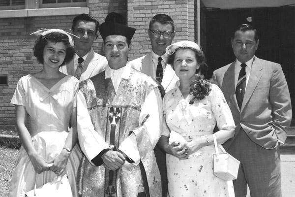 Father Joe Biltz stands with his family at his ordination to the priesthood in May 1955. He was the first priest ordained from Our Lady of the Holy Souls Church in Little Rock. (Courtesy Biltz family)