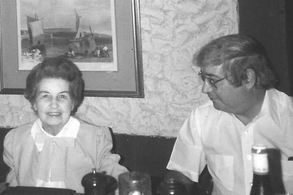 Father Joe Biltz (right) sits beside his mother, Hilda, at a gathering in Little Rock for her 84th birthday in 1984. (Courtesy Biltz family)