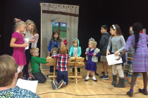 Children from Good Shepherd Lutheran Church in Fayetteville practice Dec. 3 for their coming Christmas pageant. Puerto Rican delicacies will be served and money raised will go toward Hurricane Maria disaster relief. (Courtesy Good Shepherd Lutheran Church)