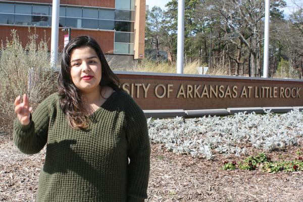 Daniah Al-Nadawi, 21, a senior at the University of Arkansas at Little Rock, participated in protests against the immigration ban in 2017. Her Iraqi family came to the U.S. in 2009 as refugees. (Aprille Hanson photo)
