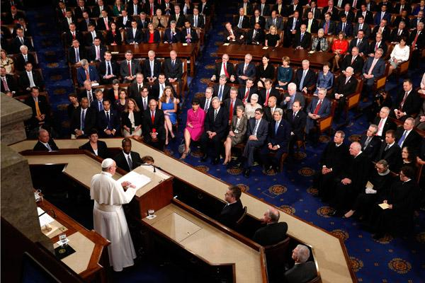 Pope Francis addresses a joint meeting of Congress at the U.S. Capitol in Washington in this Sept. 24, 2015, file photo. The pope made history as the first pope to address Congress. (CNS / Paul Haring)