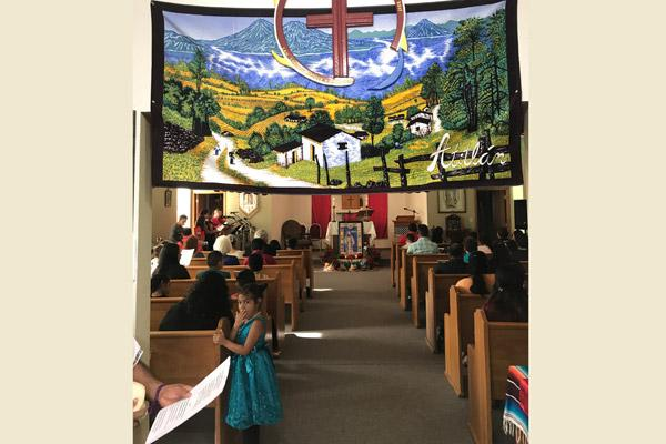 Banners and other decorations adorn Blessed Stanley Rother Church in Decatur July 28 for its first feast day Mass in honor of its patron. The mission church is the first church in the world named after the Oklahoma priest. (Courtesy Father Salvador Marquez-Munoz)