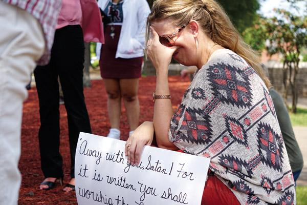Catholics pray while satanic statue unveiled at State