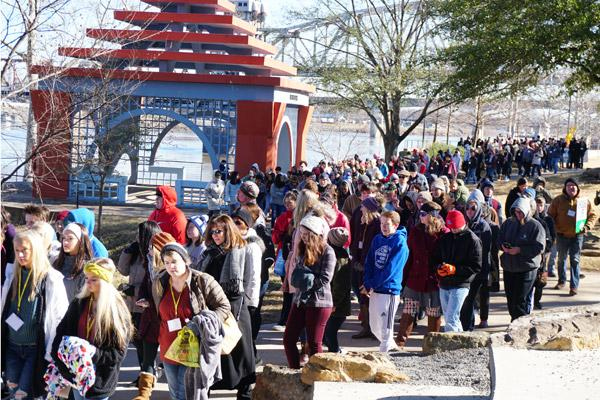 Hundreds of teens and families bundled up to participate in the procession to pray for an end of abortion and protection of all life. It was 30 degrees at the start of the procession in downtown Little Rock. (Malea Hargett photo)