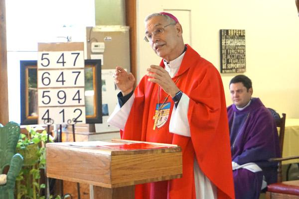 Following his homily, Bishop Taylor explains the steps the St. Oscar Romero Catholic Community of Greenbrier will have to take to become an official parish of the Diocese of Little Rock. (Aprille Hanson photo)