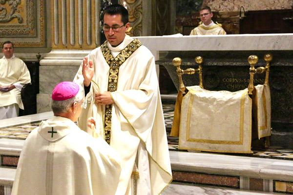 Father Amaro blesses Bishop Anthony B. Taylor at the end of his priestly ordination Mass. (Denis Nakkeeran photo, Pontifical North American College)