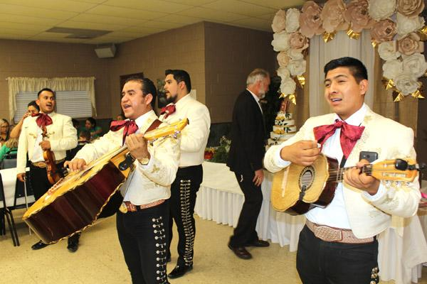 "A mariachi band serenades guests with a version of ""La Bamba"" after Daniel Velasco's ordination as a transitional deacon. The May 17 event was celebrated at St. James Church in Searcy. (Dwain Hebda photo)"