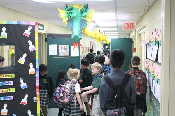St. Edward students pour into the hallway after the bell. The 134-year-old Little Rock school was known for its student diversity and service to poor, immigrant and special needs students. (Dwain Hebda photo)