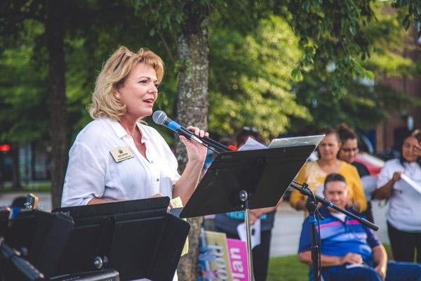 State Rep. Robin Lundstrum speaks during the July 25 prayer service on the closing day of the Planned Parenthood clinic in Fayetteville. (Travis McAfee photo)