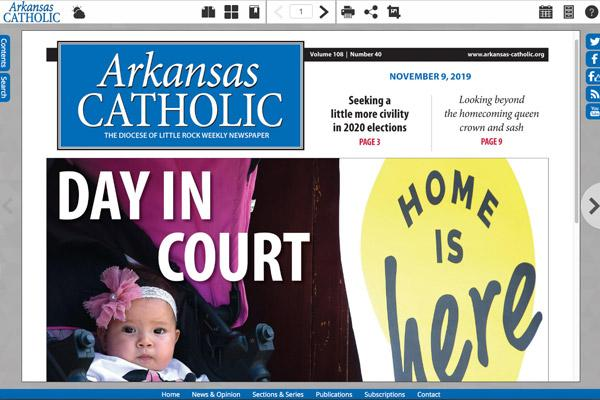 Thanks to donations from the Catholic Arkansas Sharing Appeal, it was announced at the end of 2019 that the digital version of Arkansas Catholic, a page-for-page replica of the weekly print newspaper, is now free to everyone for the first time. (Arkansas Catholic screen capture)