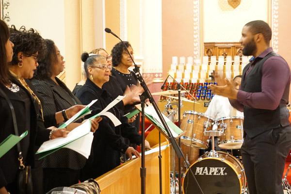 A diocesan choir from St. Peter Church in Pine Bluff, St. Bartholomew Church in Little Rock and St. Augustine Church in North Little Rock lead the music at the Cathedral on Jan. 11. (Malea Hargett photo)