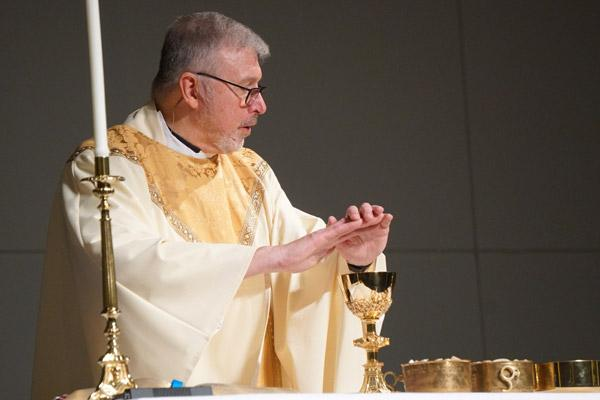 Father John Connell was the celebrant for the Mass for Life in place of Bishop Anthony B. Taylor this year. Bishop Taylor was in Rome for his ad limina visit with Pope Francis. (Malea Hargett photo)