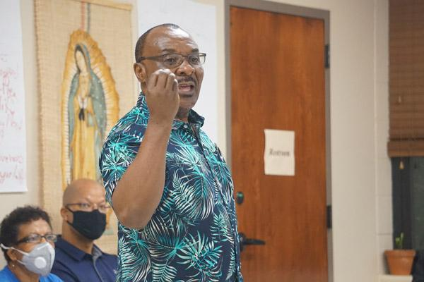 John Ekeanyanwu, a native of Nigeria and a member of Our Lady of Good Counsel Church in Little Rock, stressed the importance of priests and future priests discussing racism in their homilies and in religious education. (Aprille Hanson photo)